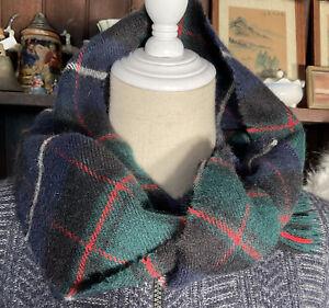 LOCHCARRON SCOTLAND blue green tartan 100% Wool quality retro Rectangular Scarf