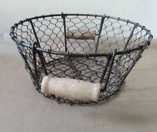 Usable Metal Gathering Basket with Wood Handle-Farmhouse Decor
