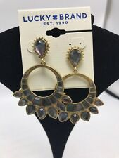 Lucky BRAND Black Mother-of-pearl Stone Drop Earrings Gold Tone Metal