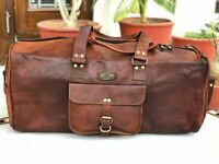 "Bag USA Bags 24"" Large Leather Bull hide Carry-On Duffel Weekend Luggage Travel"