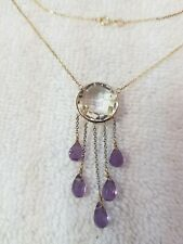 14k Two Tone Necklace With Crystal And Amethyst