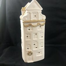 Roman Inc Row House Village Bisque Gold Glitter Roof Lights Up 9 1/4 Holiday