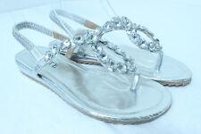 Women's SILVER Elegant Rhinestone Flat Sandals Evening Wedding Party Dress Shoes