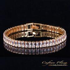 Armband Bracelet 18K gold plt mit Swarovski AAA Kristallen NEU 18/20 cm