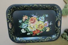 "VINTAGE TOLE-WARE TOLE BLACK TRAY SHABBY ROSES  FLOWERS 19"" X 26"""