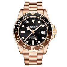 Stuhrling Aqua-Diver 3965 швейцарский кварцевый мужской серебряный браслет черный циферблат наручные часы