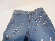 STYLE & CO Petite Curvy Skinny Leg blue jeans embroidery flowers pants Women 8P