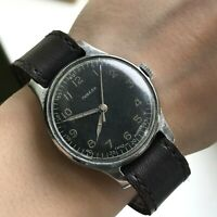 Antique POBEDA Black Dial USSR Mens Casual Watch SERVICED 1950s Rare Collectible