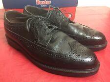 Mens Dexter Black Leather Long Wingtip Brogues Derby Shoe Oxfords USA 11 1/2 M