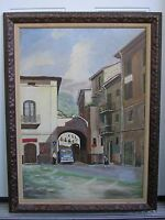 Mid-Century Eames Mediterranean Town Cityscape w/Car Automobile Oil Painting Art