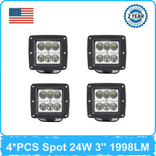 4X 24W Cube LED Work Light SPOT Beam Square Lighting F150 Toyota GMC 4X4WD Boat
