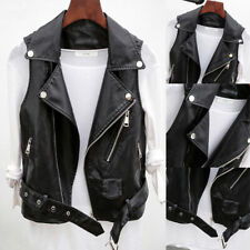 Womens Faux Leather Waistcoat Gilet Biker Sleeveless Ladies Jacket Vintage Coats