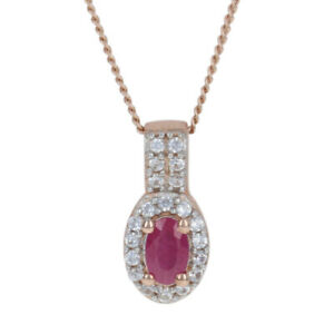 """Silver Ruby & Zircon Halo Necklace 19 3/4"""" - 925 Rose Gold Plated Oval .50ctw"""