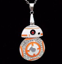 STAR Wars BB8 BB-8 ROBOT Iced Out Bling Collana Pendente Su Catena in Argento 24""