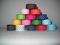 GROSGRAIN RIBBON  5 YARDS OF 5/8 INCH SWISS DOT*CHOOSE FROM 12 COLORS
