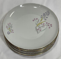 "Bohemian Fine China Spring Flowers Gold Trim Dinner Plates 10 1/4"" (Set of 7)"