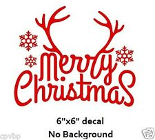 """Merry Christmas with Antlers Decal Sticker for 8"""" Glass Block DIY Crafts"""