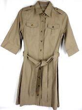 CABELAS WOMEN DRESS SAFARI STYLE SIZE 4 BUTTON DOWN KHAKI COTTON 3/4 SLEEVES