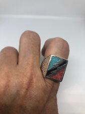 Vintage Southwestern Genuine Turquoise Coral mens Lightning Bolt ring