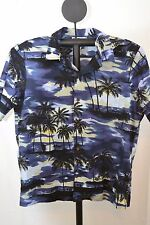 RJC Hawaiian Shirt Blue Nighttime Island Scene XL Cotton SS Coconut Shell Button