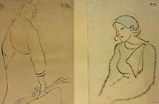 2 PORTRAITS DE FEMMES. CROQUIS ENCRE ET CRAYON COLORÉ. BON. ESPAGNE. CIRCA 1920
