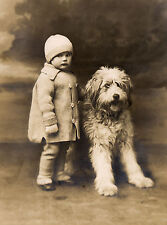 OLD ENGLISH SHEEPDOG AND LITTLE GIRL CHARMING DOG GREETINGS NOTE CARD