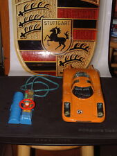 RARE BANDAI ANTIQUE TIN PORSCHE 908 W/TETHERED REMOTE CONTROL WORKING PERFECTLY!