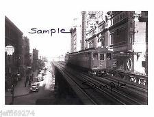 NYC 6th AVENUE ELEVATED SUBWAY TRAIN at 42nd STREET PHOTO 1938 Free Ship