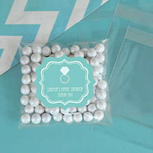 24 Something Blue Theme Personalized Clear Candy Bags Bridal Shower Favors