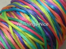 Silk Satin RAINBOW Cord 100m Necklace Jewellery Bead Craft Rattail Tassel String