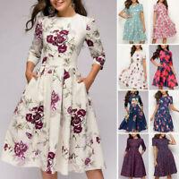 Summer Women Vintage A-Line Dress Tunic Long Short Sleeve Floral Print Sundress
