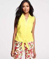 ANN TAYLOR - Woman's Lime Sorbet Stretch Cotton Tie Front Shirt $58.00 (B29)
