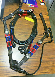 New Showman Pony One Ear Western Bridle/Breast Collar Set Leather Horse Tack