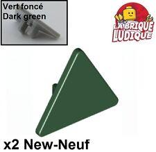 Lego - 2x Road sign panneau triangle 2x2 vert foncé/dark green 892 NEUF