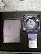 Vintage Pepsi Lighter Ashtray Cigarette Case Set