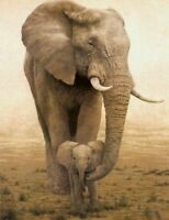 ZWPT80 100% hand-painted Manual oil painting on Canvas elephants:mother and son