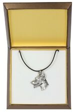 Doberman pincher - silver covered necklace with dog, in box, Art Dog USA