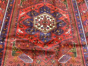 "4'2""x7' Birds Authentic Handmade wool Oriental Geometric Foyer area rug Vintage"