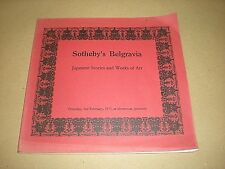 SOTHEBY'S BELGRAVIA. JAPANESE IVORIES & WORKS OF ART. 1977 AUCTION CATALOGUE.