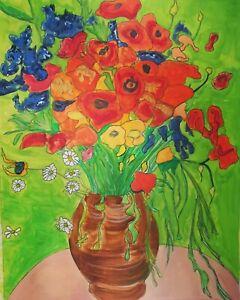 """Watercolor Painting 16 x 20 """"Belgian Flowers"""""""