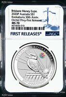 2020 30th Ann. Kookaburra 1oz Silver Coin ORCHID Privy NGC MS70 ANDA FR