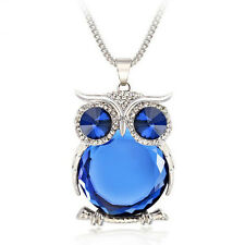 Women Silver Owl Rhinestone Crystal Pendant Necklace - USA SELLER! - FREE SHIP!