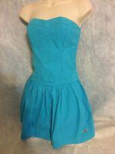 NWT Hollister Womens Strapless Casual teal Blue soft cotton short Dress Medium