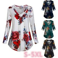 Women Long Sleeve V-neck T-shirt Floral Loose Tee Basic Tops Casual Blouse S-5XL