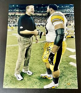 Jerome Bettis with Bill Cowher Signed 16x20 Photo autographed TSE and Bus Holo