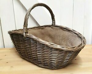 Antique Wash Willow Wicker Lined Oval Shopping Basket With Handle