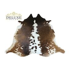Small Tricolor Cowhide Rug Hair on Cow Hide Natural Animal Skin Area Rug 5'x4'