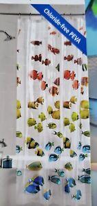NEW Colorful Tropical Fish Vinyl PEVA Shower Curtain Nautical Seaside 70x72