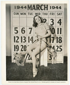Calendar Girl Ella Raines March Lion & Lamb Pin-Up Photograph Original 1944