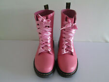 DR MARTEN'S WOMEN'S DRENCH PINK WELLY STYLE RUBBER BOOTS UK 4 PINK LACES